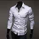 Casual Camiseta de manga larga Flanger Personalidad Delgado Duolunduo Hombre (Blanco)