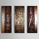 Óleo pintada a mano abstracta raya con el marco de estirado Juego de 3 1311-AB1025