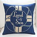 """18 """"20"""" Boya de vida marina Regístrate Azul almohada cubierta decorativa de algodón / lino"""