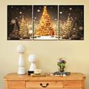 Reproducción en lienzo de arte de la impresión del oro del árbol de navidad Set de 3