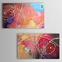 Óleo pintada a mano Líneas abstractas se extendía Frame Set de 2 1311-AB1043