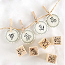 12pcs estilo de la flor de madera DIY Stamp Set