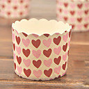 Pink Heart Pattern Cupcake Wrappers - Set of 50