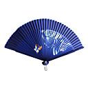Airbrushed Banboo y poliéster Fan Mano - Juego de 4 (color al azar)