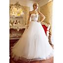 a-line del vestido de bola cariño barrer / cepillo tren tul y raso vestido de novia (604633)