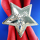 Silver Star Wedding Napkin Ring Set Of 12, Metal Star Dia 4.5cm
