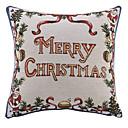 "16 ""Squard Individual Merry Christmas Jcaquard Poliéster decorativo almohada cubierta"