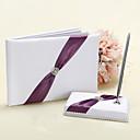 Boda libro de visitas y Conjunto de lápiz en blanco y púrpura Accent