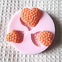 3D three Molde de silicona en forma de corazón Herramientas Fondant Moldes Azúcar artesanía del chocolate del molde para pasteles