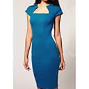 Barco azul del vestido del cuello sin mangas de S  Z Mujer