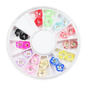 24PCS 12-Color Fimo Flower Huevo Slice con Diamond Nail Art Decoración