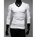 DAYD cuello en V cuello de manga larga de la camiseta (blanca)