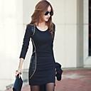 gramp;curva de negro de la mujer w cupo el vestido de la PU