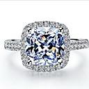 2 quilates princesa estilo de halo cortó mujeres sona anillo de diamantes de cristal de 925 de oro blanco plateado
