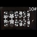 12PCS encaje blanco transparente con Rhinestone del clavo del brillo de la boda de la flor del enrejado pegatinas