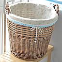 Classic Big Brown Rattan cesta de lavadero con la cereza Patrón Forro