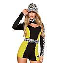 2pcs sexy Racer Negro y amarillo del traje de Carnaval de las Mujeres