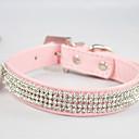 collar ajustable de la PU de cuero de diamante para mascotas perros / gatos (colores assoted, tamaños)