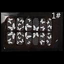 12PCS encaje blanco transparente con el patrón Rhinestone del clavo del brillo de la boda de la mariposa pegatinas