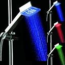 3 colores Temperatura Controlada Square Light LED pulverización superior Showerheads cabezal de ducha Cuarto de baño con Chrome revestidos