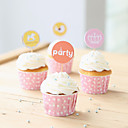 Party Theme Cupcake Picks/Toppers for Cake Decoration - Set of 24 (Wrappers Not Included)