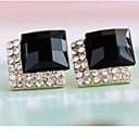 Aretes de diamantes negros de lujo Miss U de la Mujer