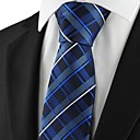 Checked Pattern Navy Mens Tie Formal Suits Necktie for Wedding Holiday Gift