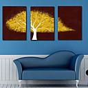 Lienzo envuelto para galerías de arte botánico Yellow Crown Set de 3