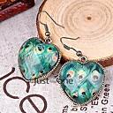 Women Peacock Feather Heart Crystal Dangle Earrings