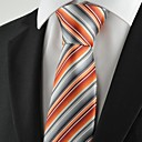 New Striped Orange Mens Tie Suit Necktie for Wedding Holiday Gift
