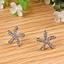 Women Cute Sweet Starfish Rhinestone Ear Studs Earrings