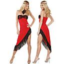 Bailarín atractivo sin tirantes asimétricos vestido de las borlas de la Red Tango traje de la danza