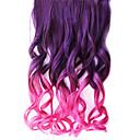 16 pulgadas clip en púrpura sintético y onduladas gradiente Extensiones de cabello rosa con 5 Clips