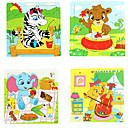 16Pcs/Lot Jigsaw Puzzle de madera Juguetes educativos (color al azar)