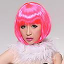 Completo Flequillo recto corto caprichoso Carnaval Bob peluca de pelo (rosa)