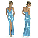 Aguamarina sirena azul brillante piso vestido de noche del vestido del partido