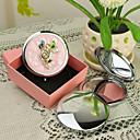 Estilo personalizado flor rosada del regalo Cromo Espejo compacto