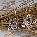 Women Vintage Owl Pendant Dangle Earrings
