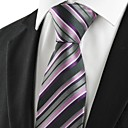 New Striped Purple Classic Mens Tie Necktie for Wedding Holiday Gift