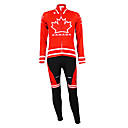 Image For Kooplus - Canadian National Team Cycling Long Sleeve Fleece Bib Suit