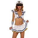 Chica sexy blanco y azul de poliéster Carnaval Uniforme Partido Naval