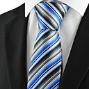 New Striped Mix Blue Grey Mens Tie Necktie Party for Wedding Holiday Gift