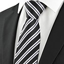 New Striped Grey Formal Mens Tie Necktie for Wedding Party Holiday Gift