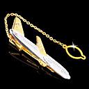 clip de corbata de metal de oro con forma de avión de los hombres de regalo personalizado grabado con la cadena (a menos de 10 caracteres)