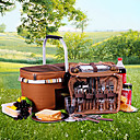 Cookware Elegant Hand-Take Picnic Basket For Four Person (Brown 36L) With Quadruple-Tableware
