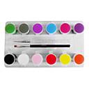 12-3D Color Acrílico Nail Art Painting Kits de pigmentos con 2 piezas de acrílico de la pluma del cepillo