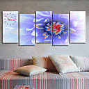 Modern Style Flower Wall Clock in Canvas 5pcs