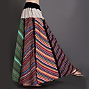 Cotton And  Hemp Spring And Autumn Novel Colored Stripes Splice  Women Maxi Pleated Skirts