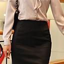 Womens Work Skirts , Cotton Blends Inelastic Beige/Black
