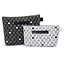 2 piezas de Blanco y Negro patrón de la letra de la cartera en forma Espesar Maquillaje / Cosméticos Bag Set de cosméticos de almacenamiento